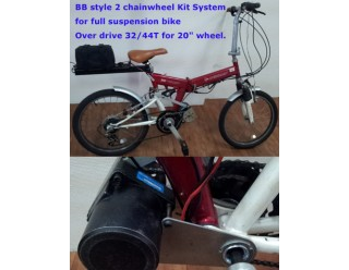 Upgrade from 1 chainwheel kit to 2 chainwheel B.B. bracket system